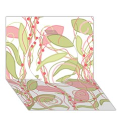 Pink and ocher ivy 2 Circle 3D Greeting Card (7x5)