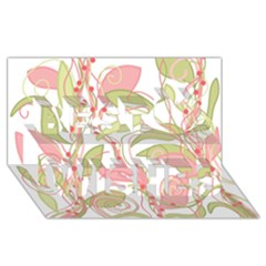 Pink and ocher ivy 2 Best Wish 3D Greeting Card (8x4)