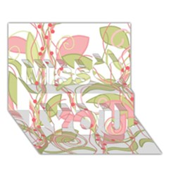 Pink and ocher ivy 2 Miss You 3D Greeting Card (7x5)