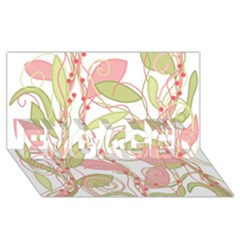 Pink and ocher ivy 2 ENGAGED 3D Greeting Card (8x4)