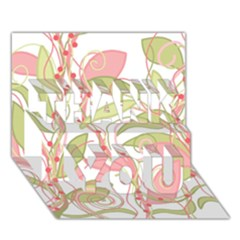 Pink and ocher ivy 2 THANK YOU 3D Greeting Card (7x5)