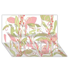 Pink and ocher ivy 2 Happy New Year 3D Greeting Card (8x4)