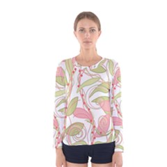 Pink and ocher ivy 2 Women s Long Sleeve Tee