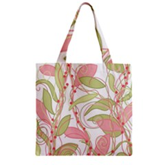 Pink and ocher ivy 2 Zipper Grocery Tote Bag