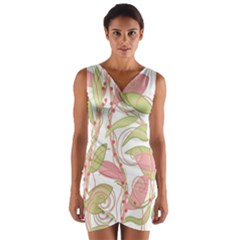 Pink and ocher ivy 2 Wrap Front Bodycon Dress
