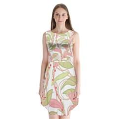 Pink and ocher ivy 2 Sleeveless Chiffon Dress
