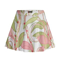 Pink and ocher ivy 2 Mini Flare Skirt
