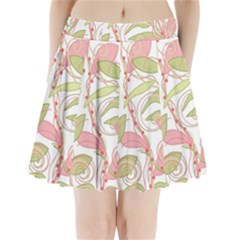 Pink and ocher ivy 2 Pleated Mini Skirt