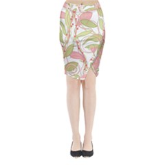Pink and ocher ivy 2 Midi Wrap Pencil Skirt