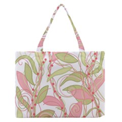 Pink and ocher ivy 2 Medium Zipper Tote Bag