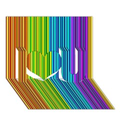 Colorful lines I Love You 3D Greeting Card (7x5)