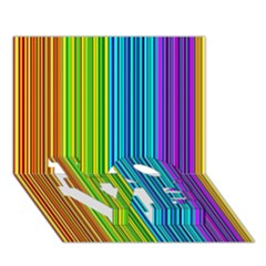 Colorful lines LOVE Bottom 3D Greeting Card (7x5)