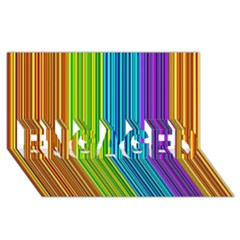 Colorful lines ENGAGED 3D Greeting Card (8x4)