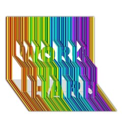 Colorful lines WORK HARD 3D Greeting Card (7x5)