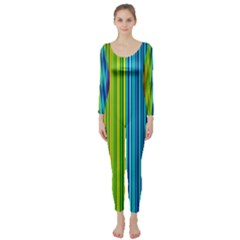 Colorful lines Long Sleeve Catsuit