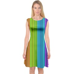 Colorful Lines Capsleeve Midi Dress