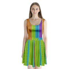 Colorful lines Split Back Mini Dress