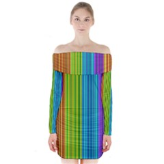 Colorful Lines Long Sleeve Off Shoulder Dress