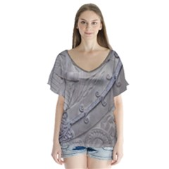 Watts Chapel (Single) V-Neck Flutter Sleeve Top