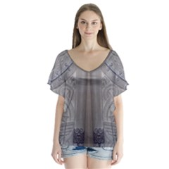 Watts Chapel (Double) V-Neck Flutter Sleeve Top