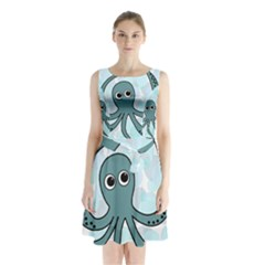 Octopus Sleeveless Chiffon Waist Tie Dress