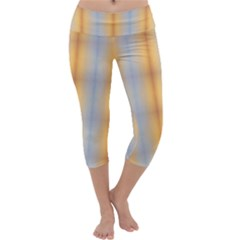 Blue Yellow Summer Pattern Capri Yoga Leggings