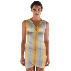 Blue Yellow Summer Pattern Wrap Front Bodycon Dress