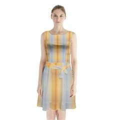 Blue Yellow Summer Pattern Sleeveless Chiffon Waist Tie Dress
