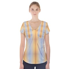 Blue Yellow Summer Pattern Short Sleeve Front Detail Top