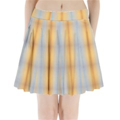Blue Yellow Summer Pattern Pleated Mini Skirt