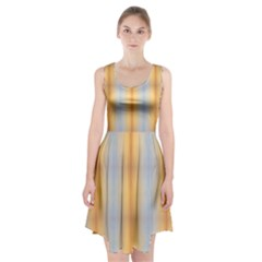 Blue Yellow Summer Pattern Racerback Midi Dress