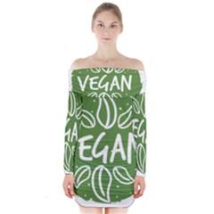 Vegan Label3 Scuro Long Sleeve Off Shoulder Dress