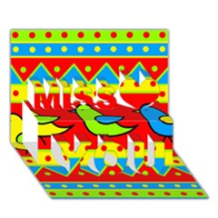 Birds pattern Miss You 3D Greeting Card (7x5)