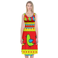 Birds Pattern Midi Sleeveless Dress