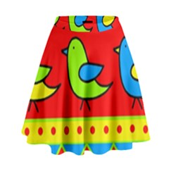 Birds pattern High Waist Skirt