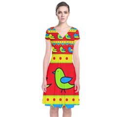 Birds pattern Short Sleeve Front Wrap Dress