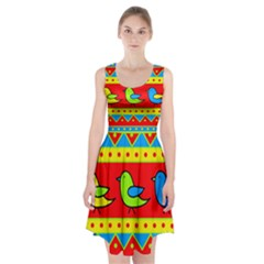 Birds pattern Racerback Midi Dress