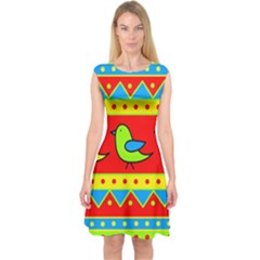 Birds pattern Capsleeve Midi Dress