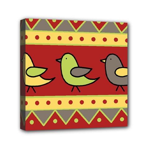 Brown bird pattern Mini Canvas 6  x 6