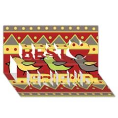 Brown bird pattern Best Friends 3D Greeting Card (8x4)