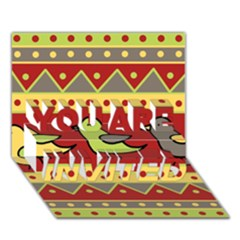 Brown bird pattern YOU ARE INVITED 3D Greeting Card (7x5)