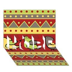 Brown bird pattern HOPE 3D Greeting Card (7x5)