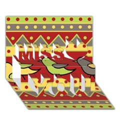 Brown Bird Pattern Miss You 3d Greeting Card (7x5)