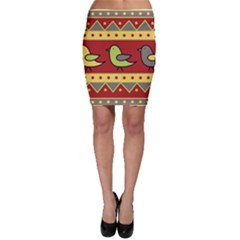 Brown bird pattern Bodycon Skirt