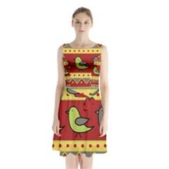 Brown bird pattern Sleeveless Chiffon Waist Tie Dress