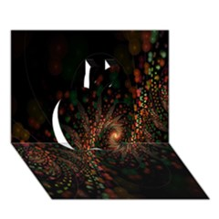 Multicolor Fractals Digital Art Design Apple 3D Greeting Card (7x5)