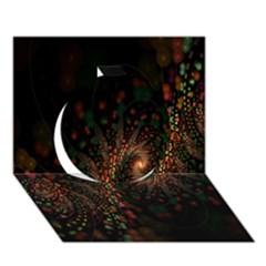 Multicolor Fractals Digital Art Design Circle 3D Greeting Card (7x5)