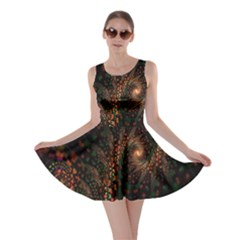 Multicolor Fractals Digital Art Design Skater Dress