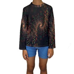 Multicolor Fractals Digital Art Design Kids  Long Sleeve Swimwear