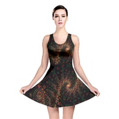 Multicolor Fractals Digital Art Design Reversible Skater Dress